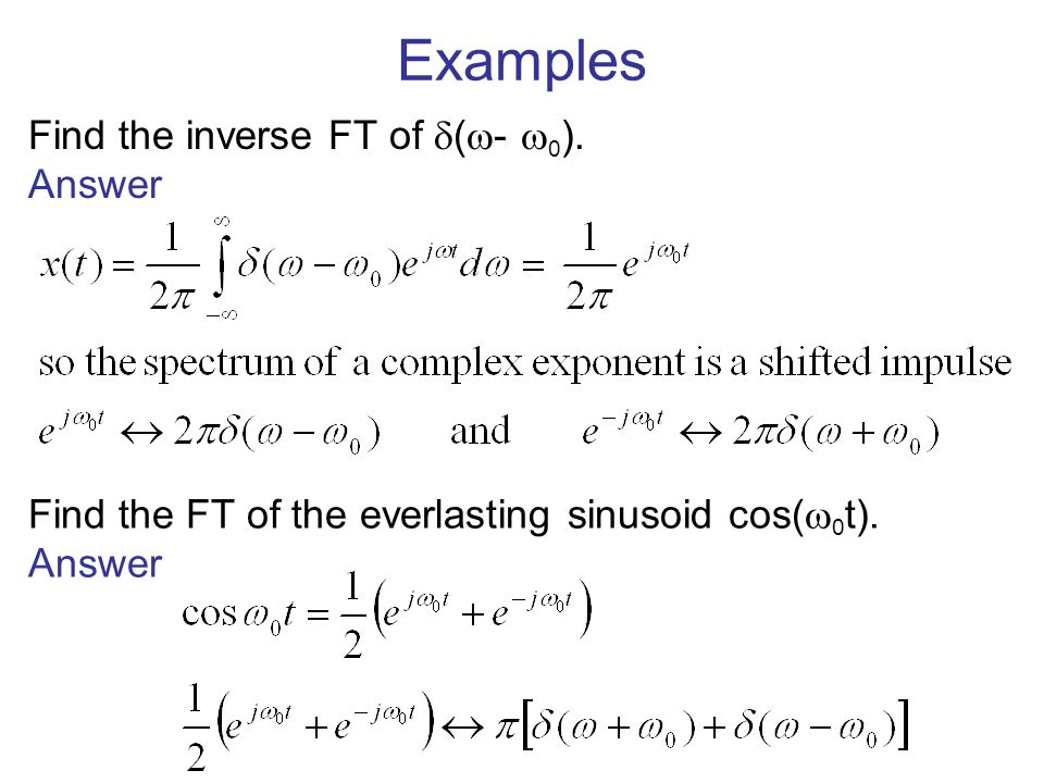 Examples Find the inverse FT of (- 0). Answer
