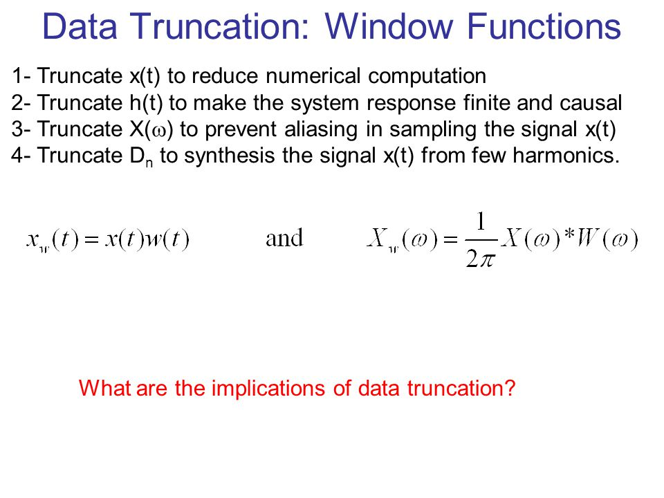 Data Truncation: Window Functions