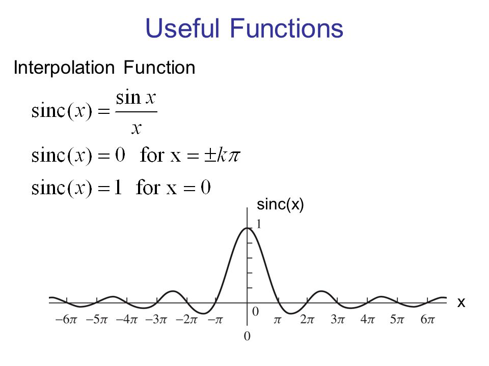 Useful Functions Interpolation Function sinc(x) x
