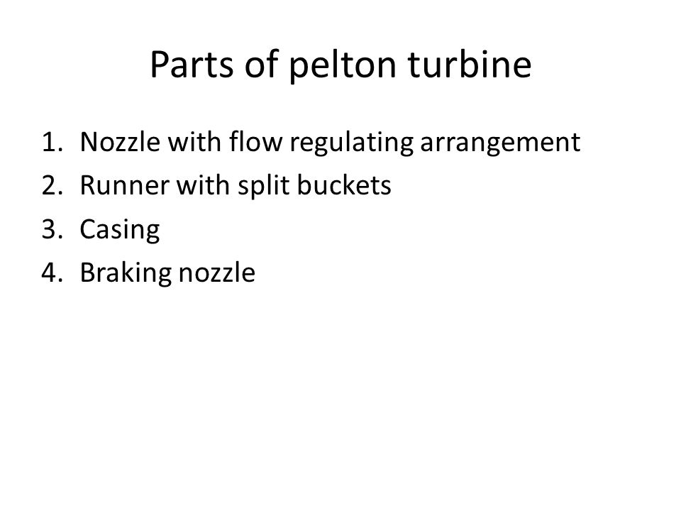 Parts of pelton turbine