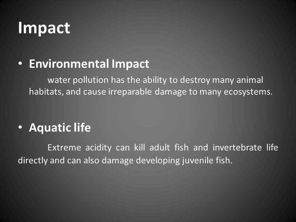 Impact Environmental Impact Aquatic life