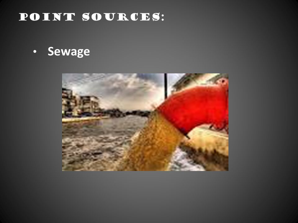 Point sources: Sewage.