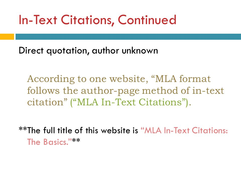 mla website in text citation