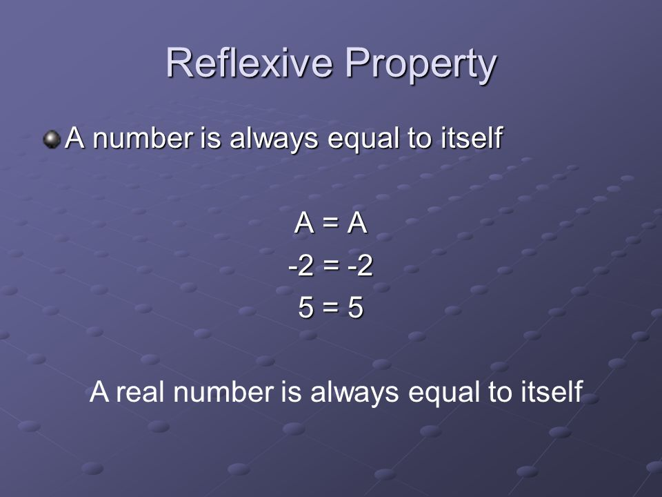 A real number is always equal to itself
