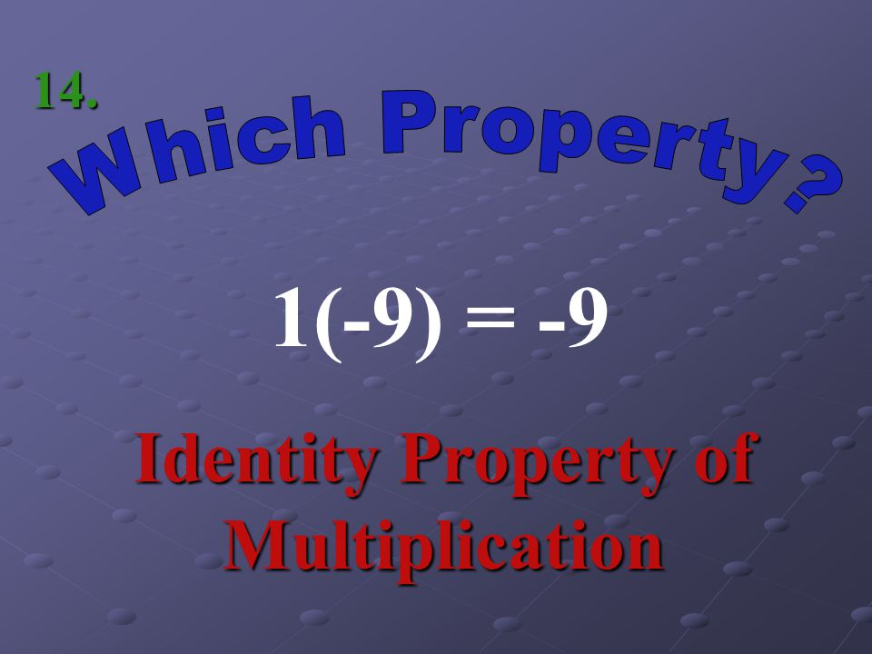 Identity Property of Multiplication