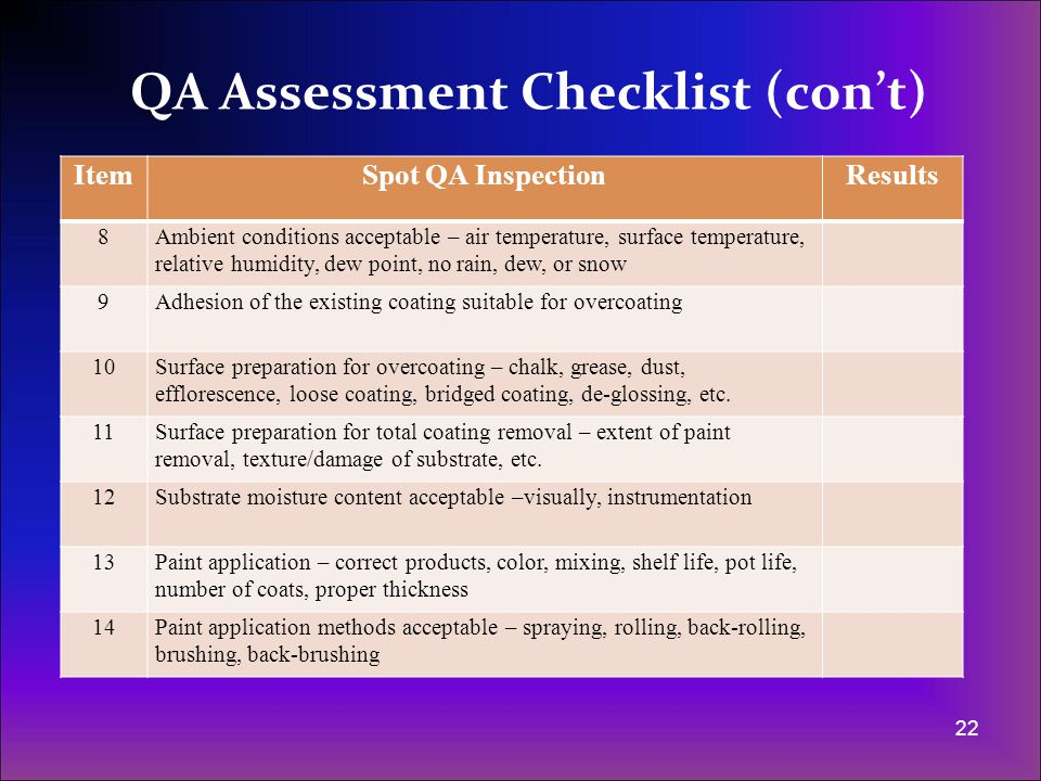 Surface Preparation - QA Assessments (con't) - ppt video