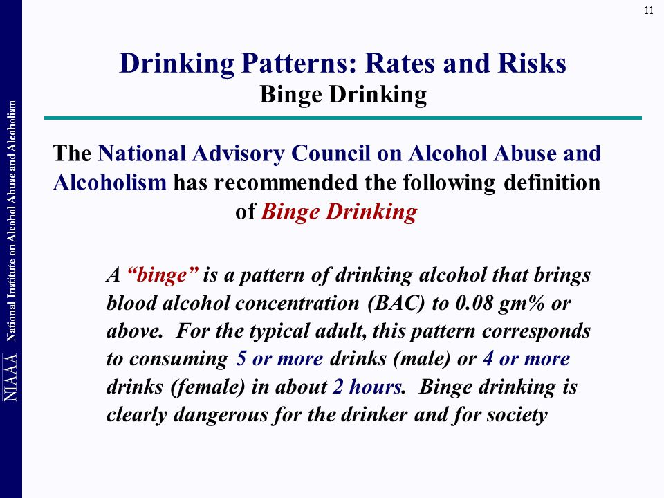 Drinking Patterns: Rates and Risks Binge Drinking