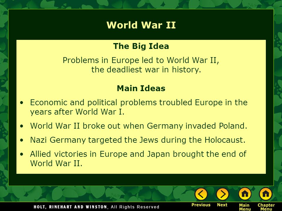World war ii. Topics 1. After world war i: the great depression and.