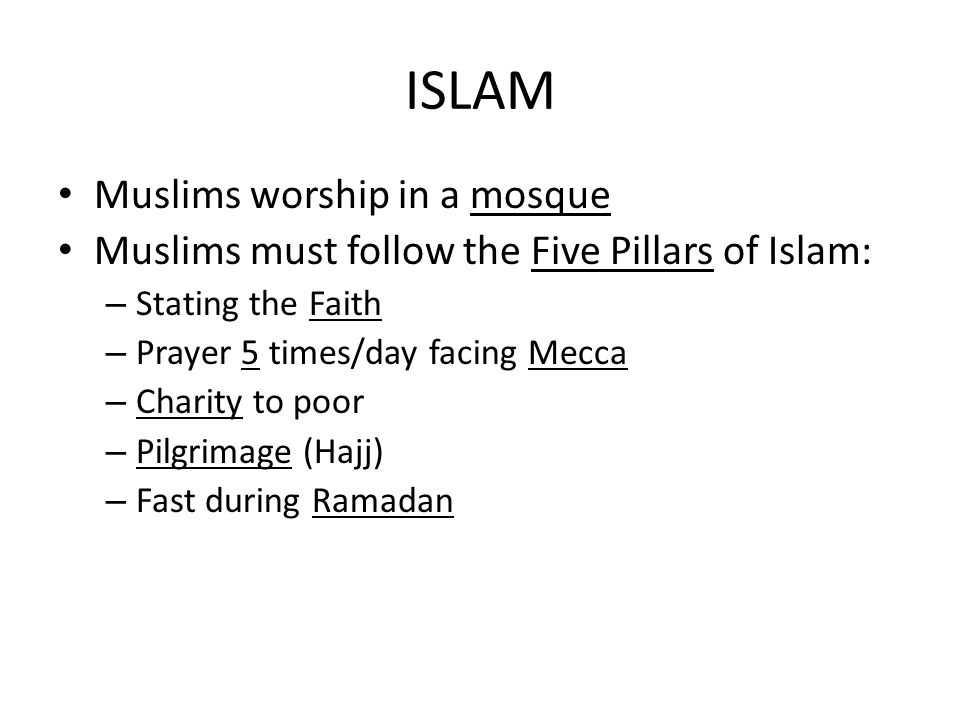 ISLAM Muslims worship in a mosque