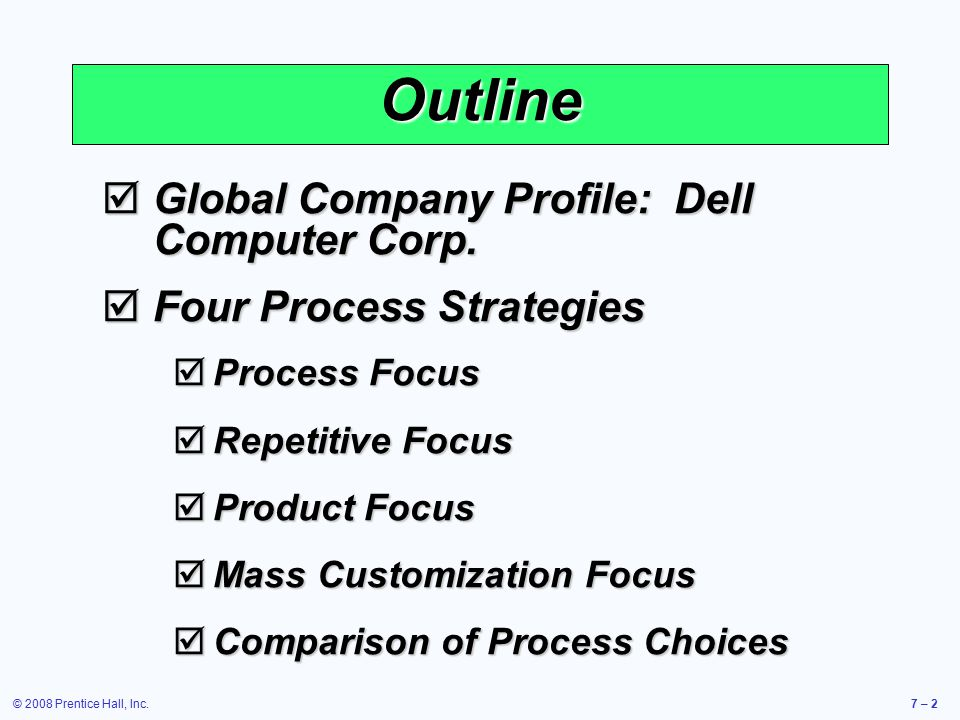 Outline Global Company Profile: Dell Computer Corp.