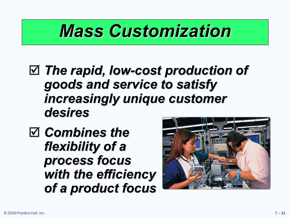 Mass Customization The rapid, low-cost production of goods and service to satisfy increasingly unique customer desires.