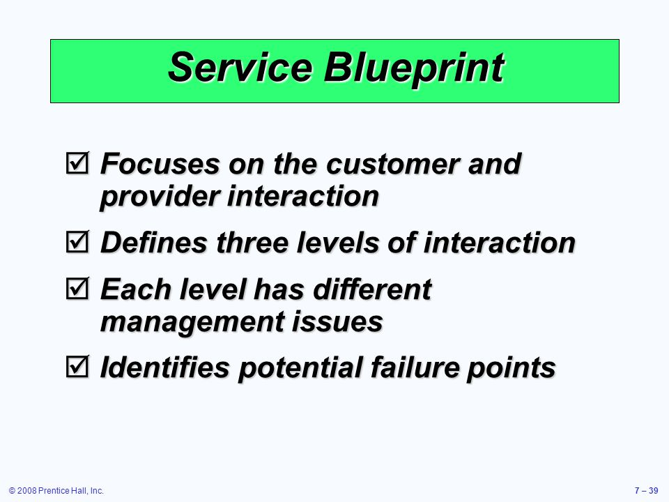Service Blueprint Focuses on the customer and provider interaction