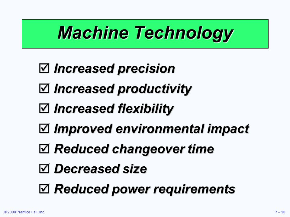 Machine Technology Increased precision Increased productivity