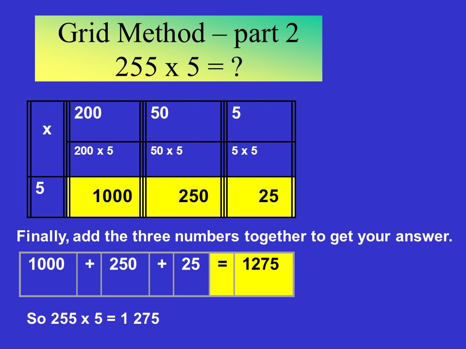 Grid Method – part x 5 = x x x 5. 5 x