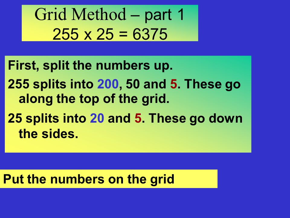 Grid Method – part x 25 = 6375 First, split the numbers up.