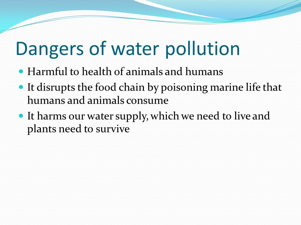 Dangers of water pollution