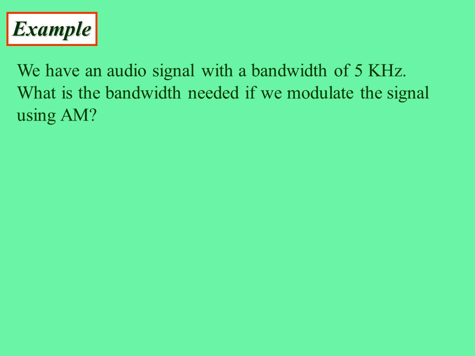 Example We have an audio signal with a bandwidth of 5 KHz.