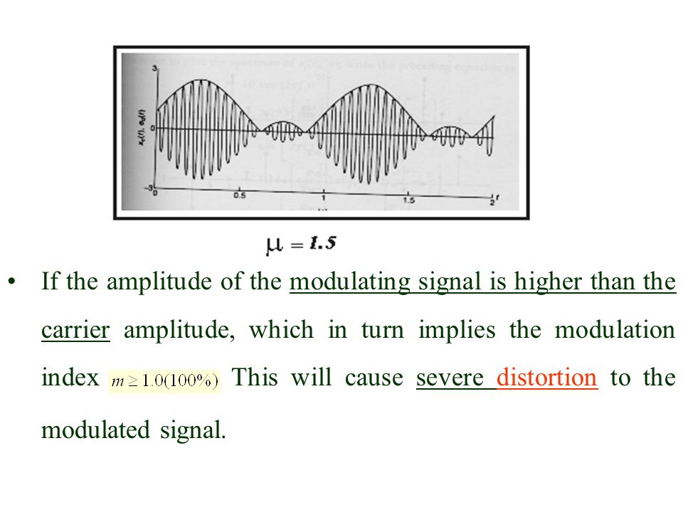 If the amplitude of the modulating signal is higher than the carrier amplitude, which in turn implies the modulation index .
