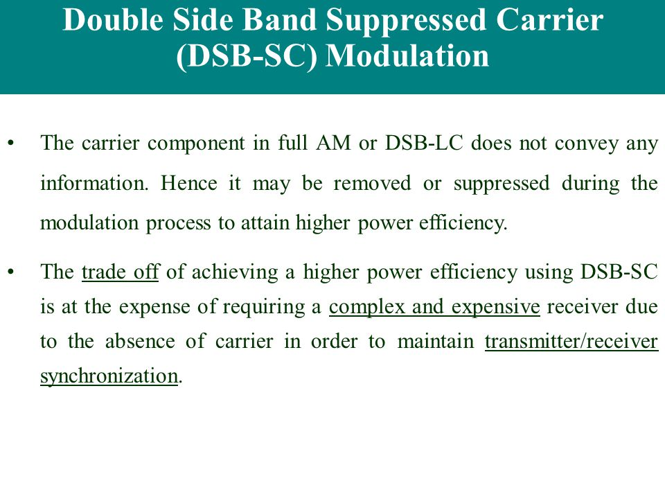 Double Side Band Suppressed Carrier (DSB-SC) Modulation