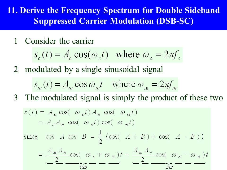 11. Derive the Frequency Spectrum for Double Sideband Suppressed Carrier Modulation (DSB-SC)