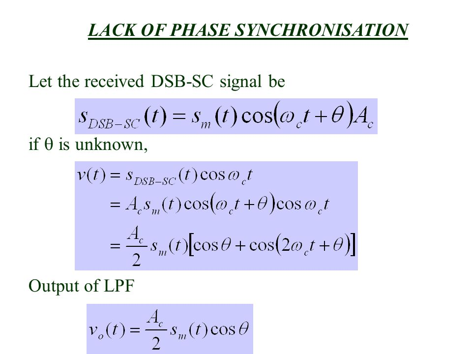 LACK OF PHASE SYNCHRONISATION