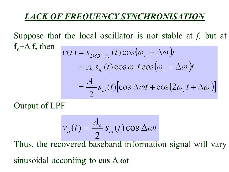 LACK OF FREQUENCY SYNCHRONISATION