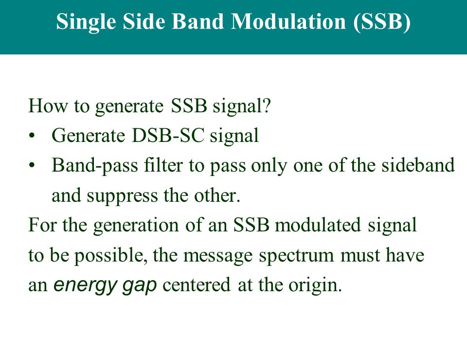 Single Side Band Modulation (SSB)