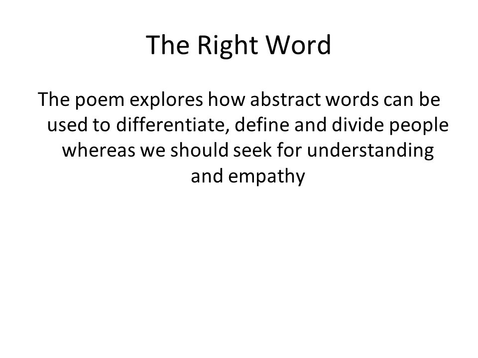 the right word poem
