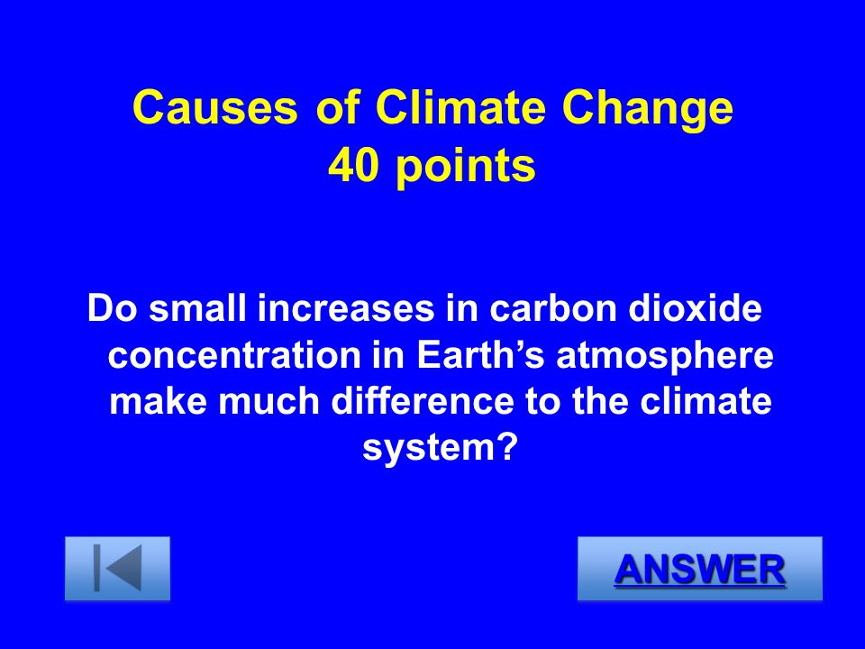 Causes of Climate Change 40 points