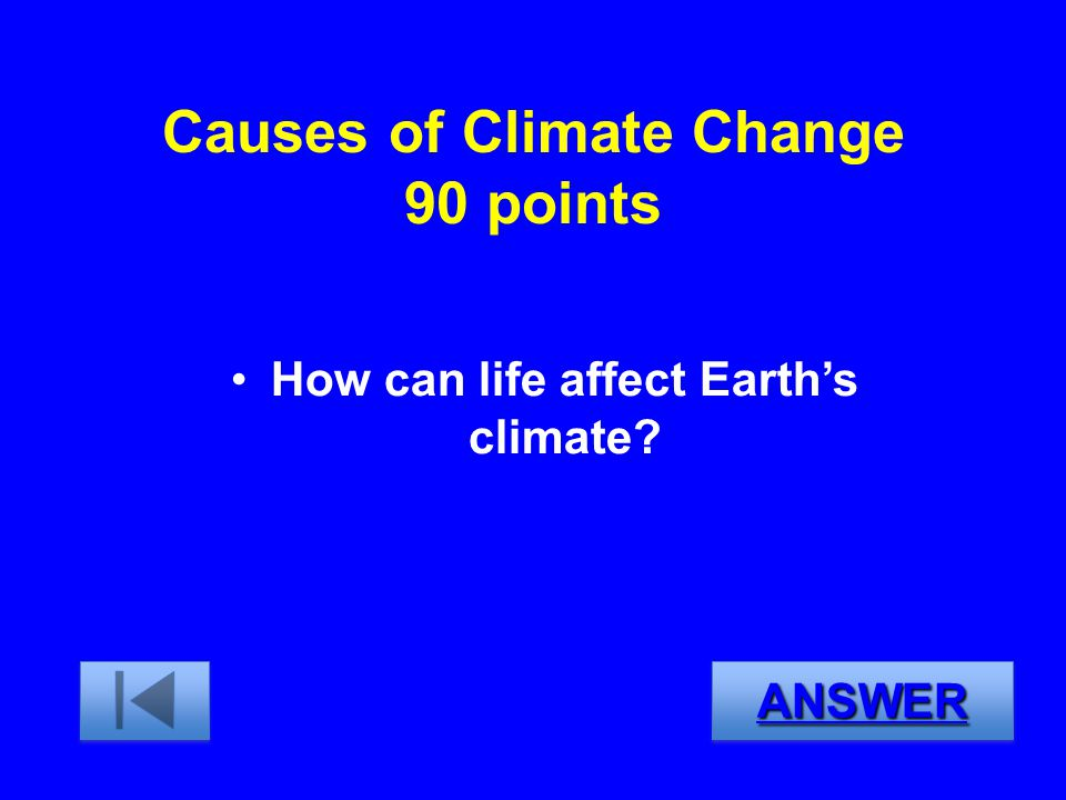 Causes of Climate Change 90 points