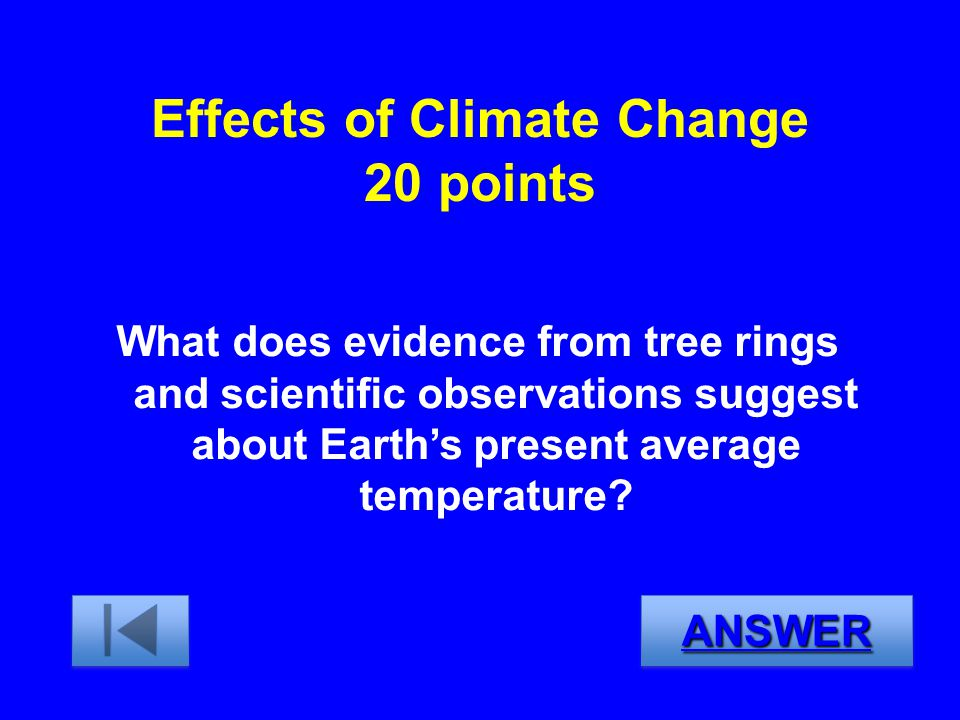 Effects of Climate Change 20 points