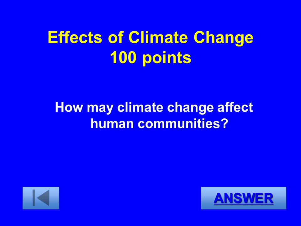 Effects of Climate Change 100 points
