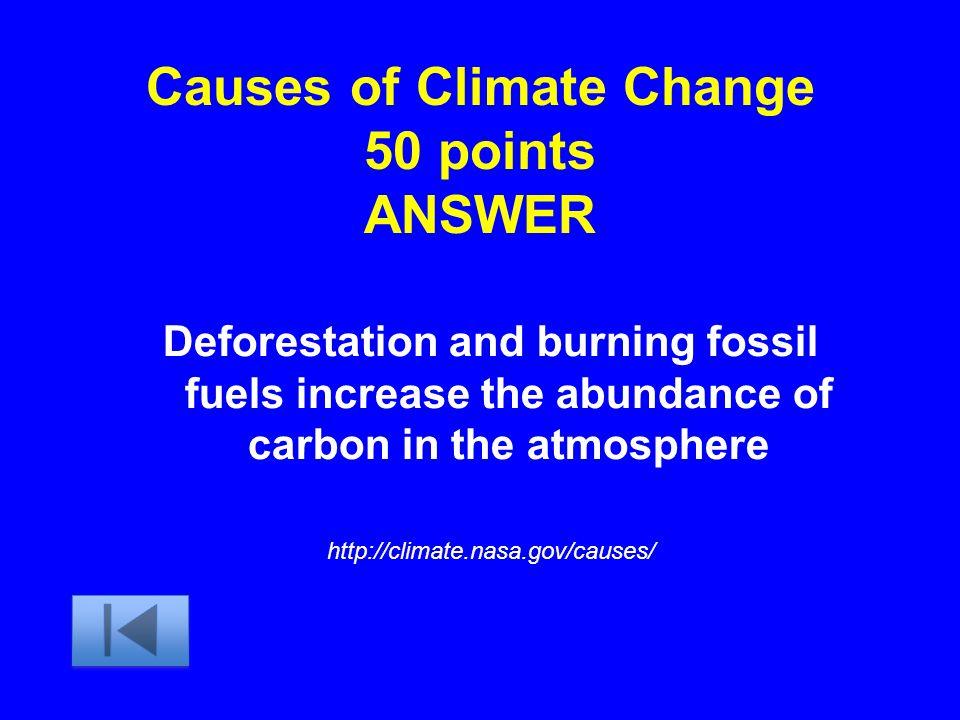 Causes of Climate Change 50 points ANSWER