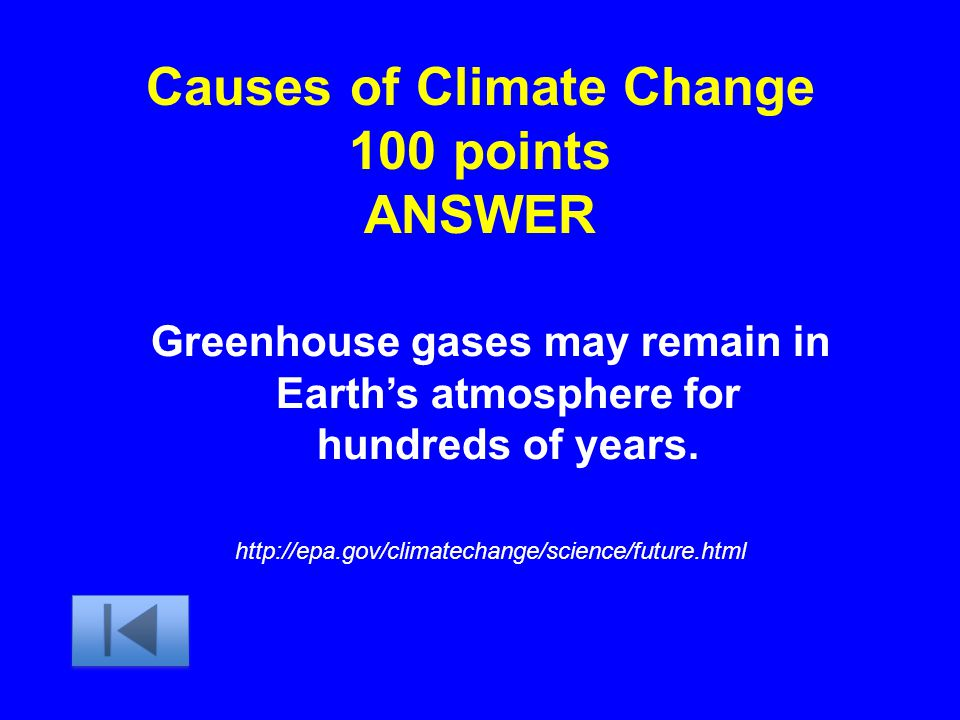 Causes of Climate Change 100 points ANSWER