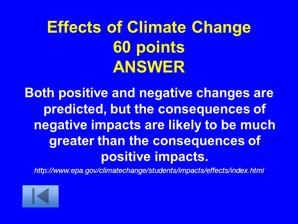 Effects of Climate Change 60 points ANSWER