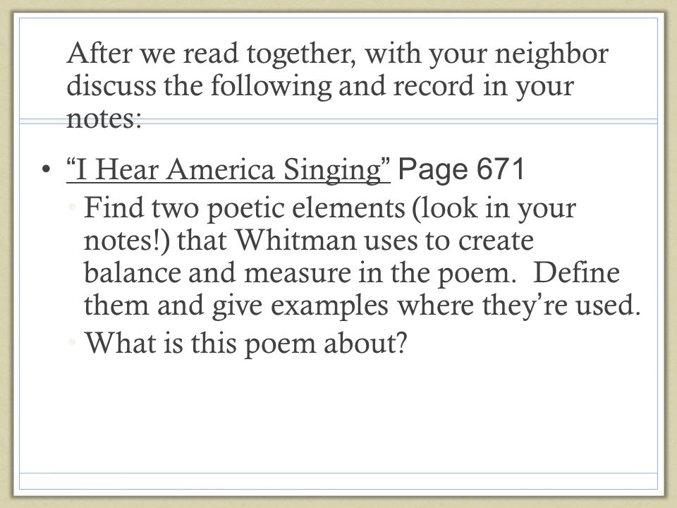 in i hear america singing whitman uses a catalog to