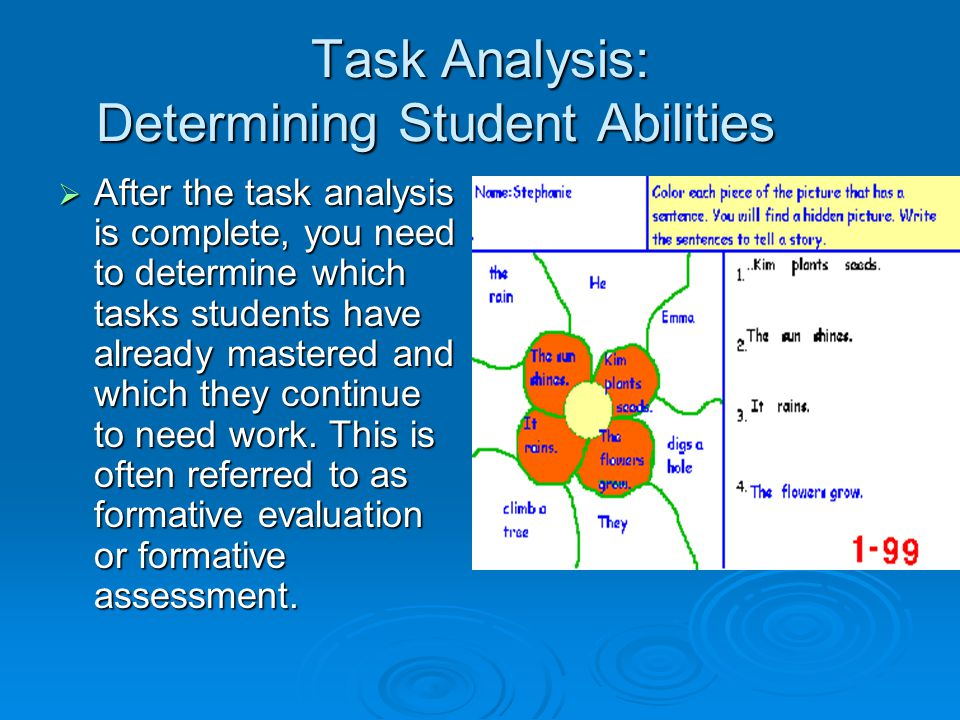 Task Analysis: Determining Student Abilities