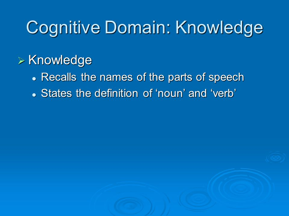 Cognitive Domain: Knowledge