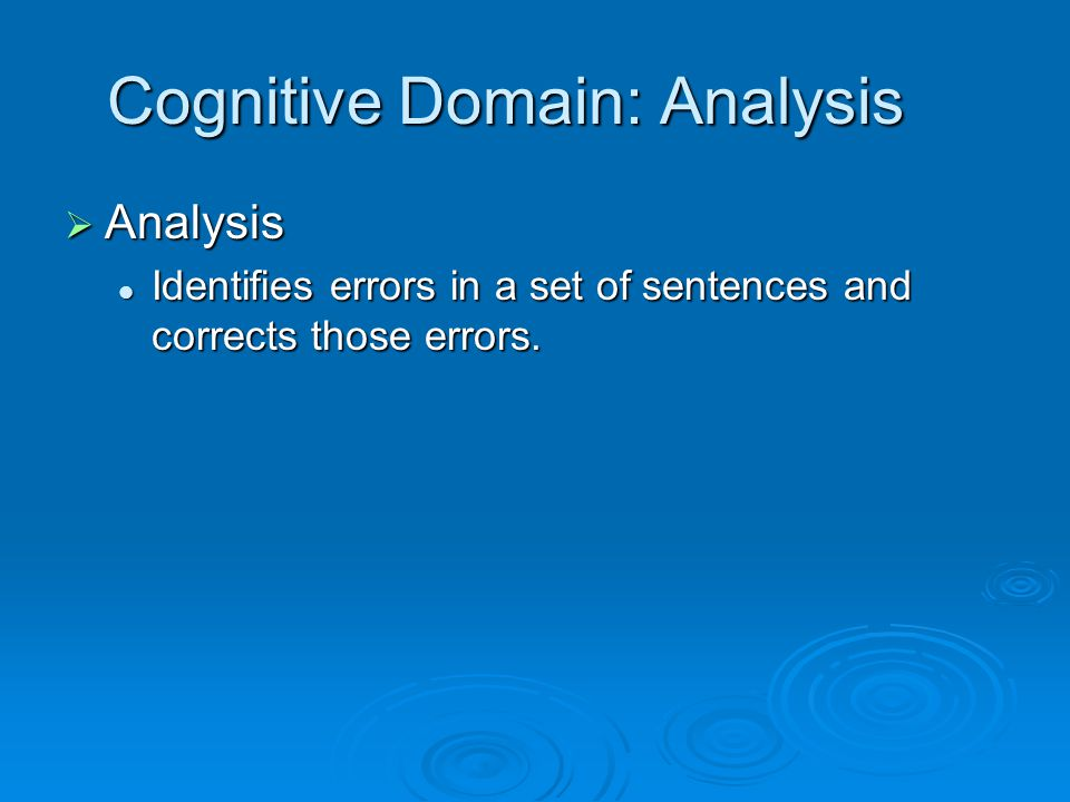 Cognitive Domain: Analysis