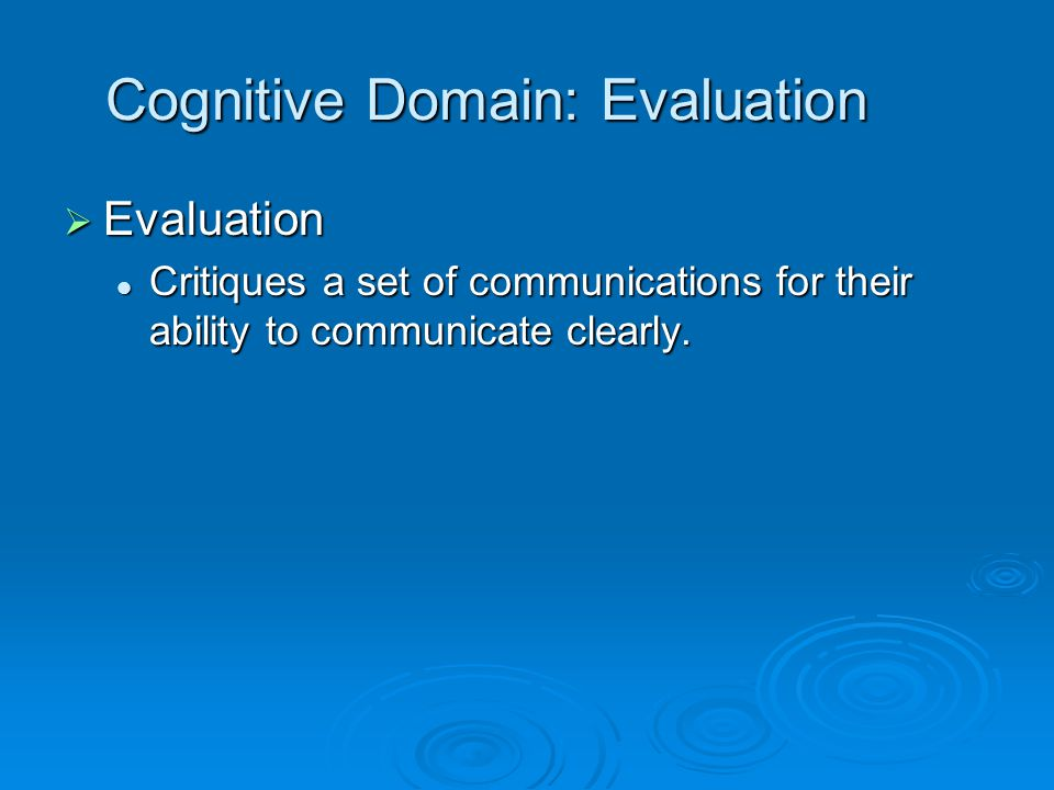 Cognitive Domain: Evaluation