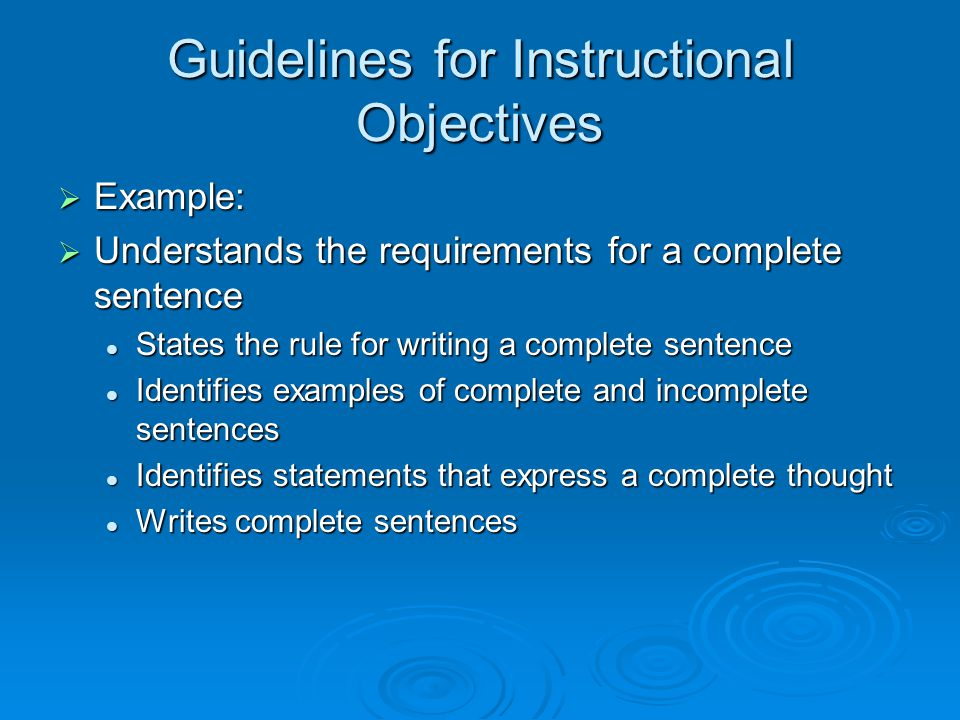 Guidelines for Instructional Objectives