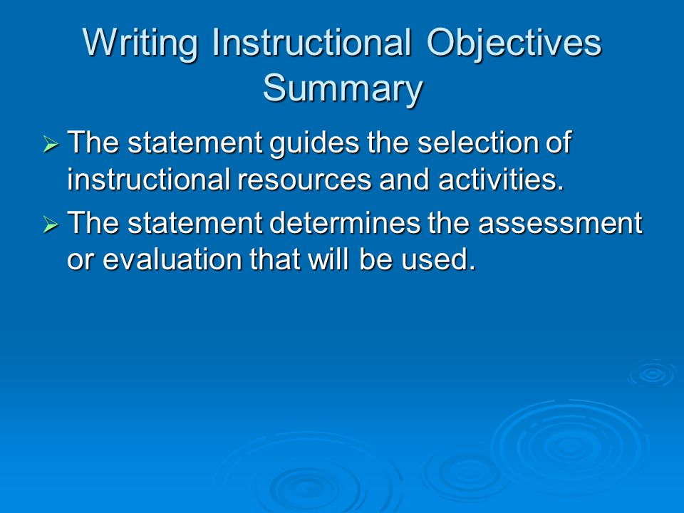 Writing Instructional Objectives Summary