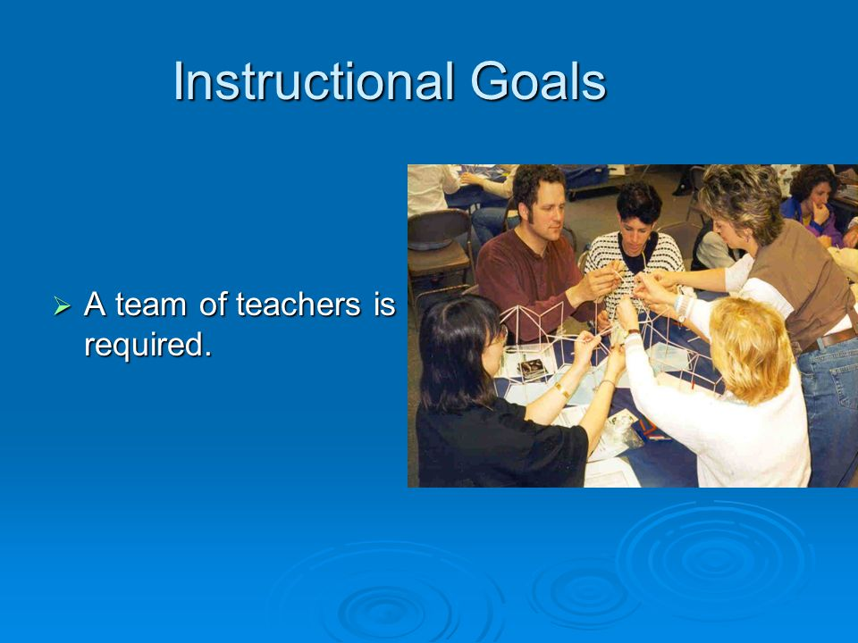 Instructional Goals A team of teachers is required.