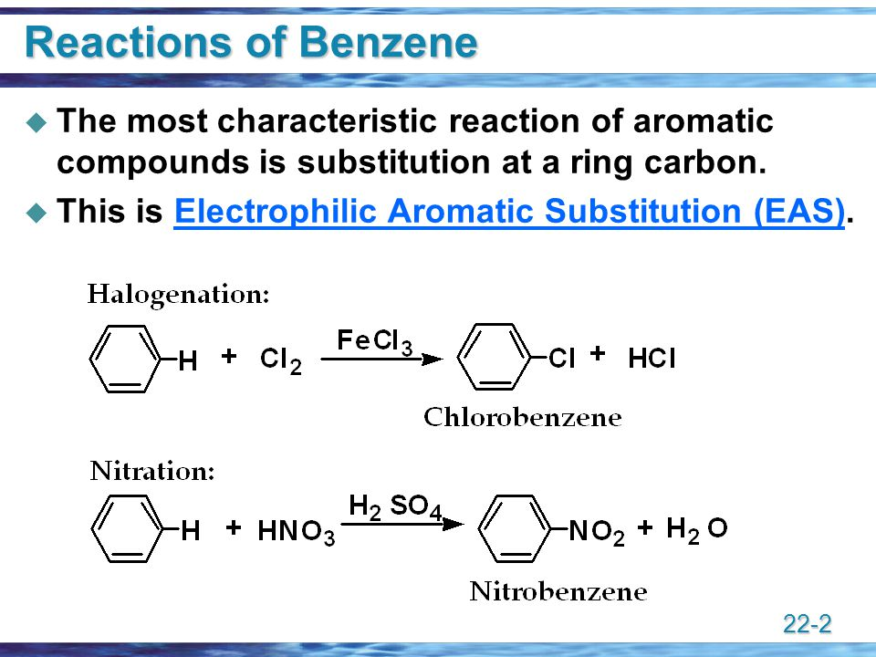 reactions of benzene and its derivatives