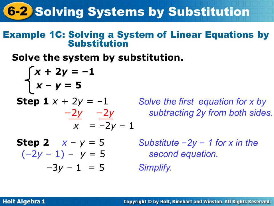 Example 1C: Solving a System of Linear Equations by Substitution