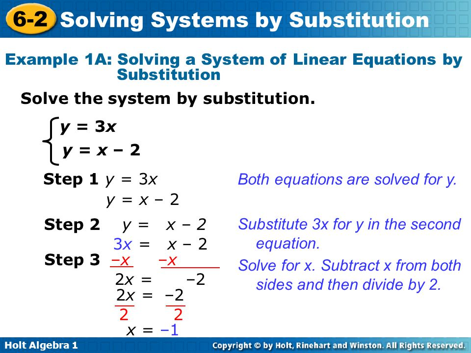 Example 1A: Solving a System of Linear Equations by Substitution