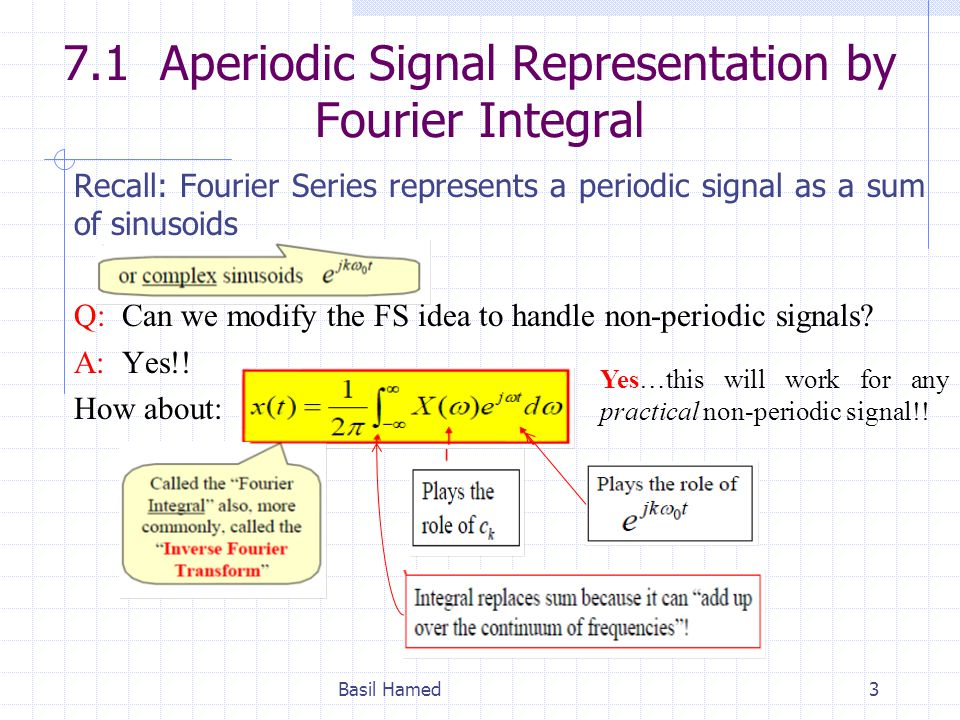 7.1 Aperiodic Signal Representation by Fourier Integral