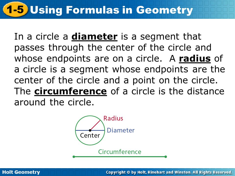 In a circle a diameter is a segment that passes through the center of the circle and whose endpoints are on a circle.