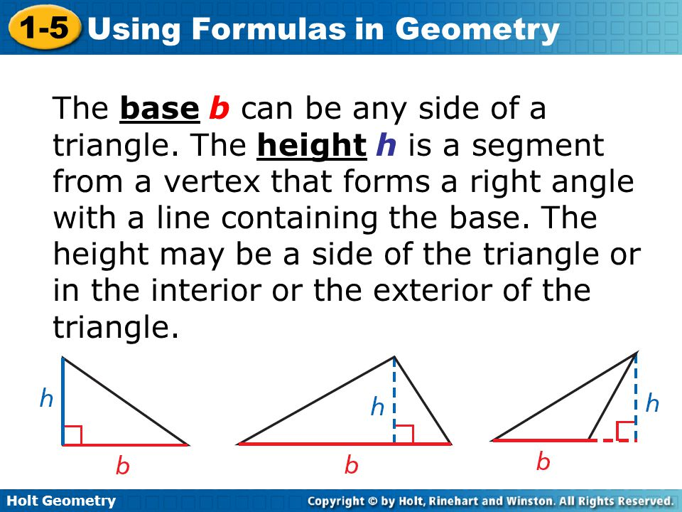 The base b can be any side of a triangle