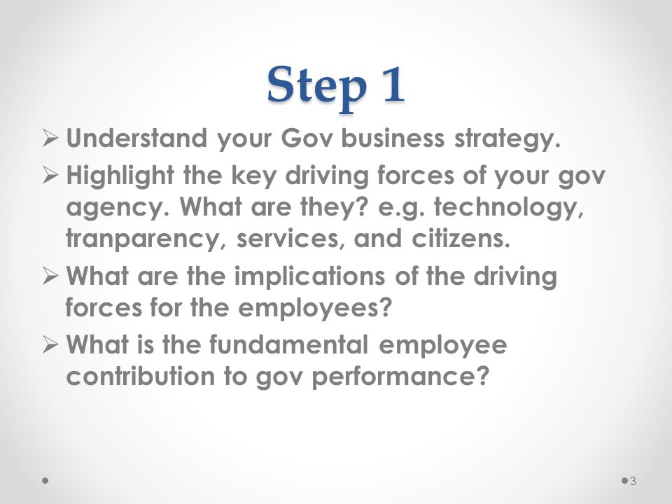 Step 1 Understand your Gov business strategy.